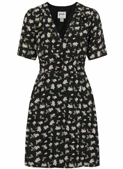 Otillie Black Ditsy Floral Print Tea Dress Product Front