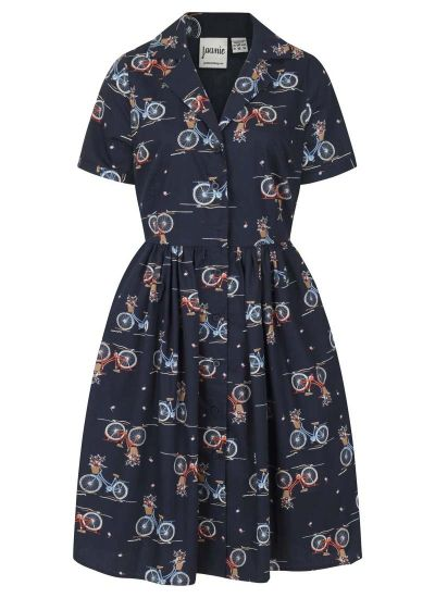 Pepper Bicycle Print Shirt Dress - Navy