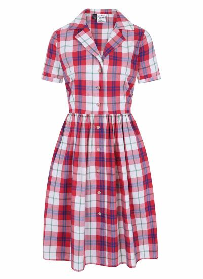 Pepper Check Shirt Dress Red Product Front