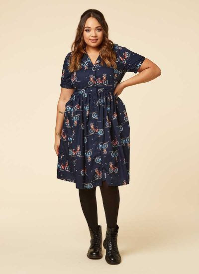Pepper Navy Bicycle Print Shirt Dress Model Front