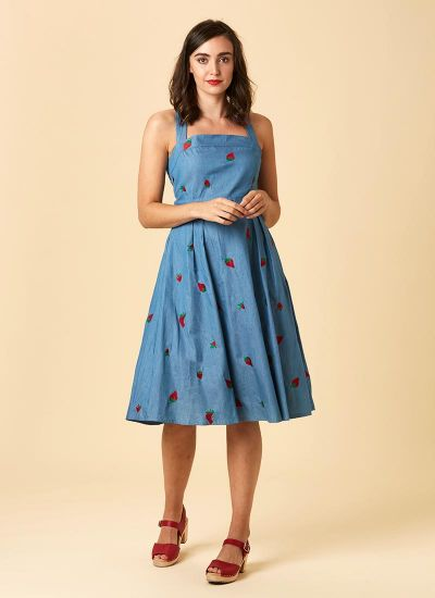 Petunia Embroidered Strawberry Chambray Sundress