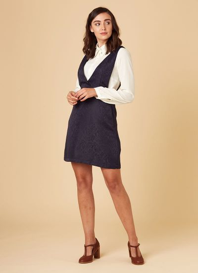 Prudence Jacquard Pinafore Dres Navy 60s-Inspired Model Front