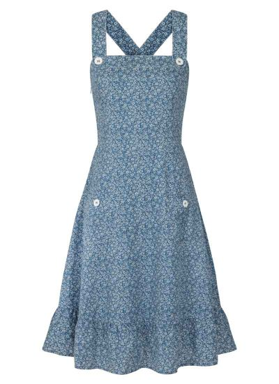 Purdy Blue Ditsy Print Cotton Pinafore Sundress Product Front