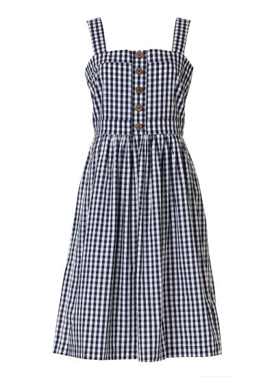 Rani Cotton Gingham Sundress - Navy