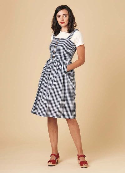 Rani Cotton Gingham Sundress Navy Model Front