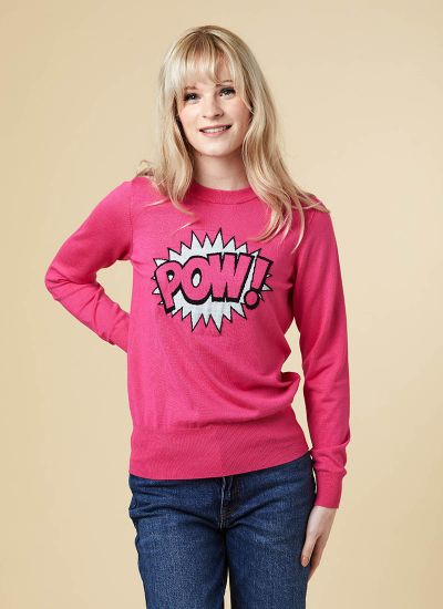 Raquella Pow Slogan Jumper Model Close-Up