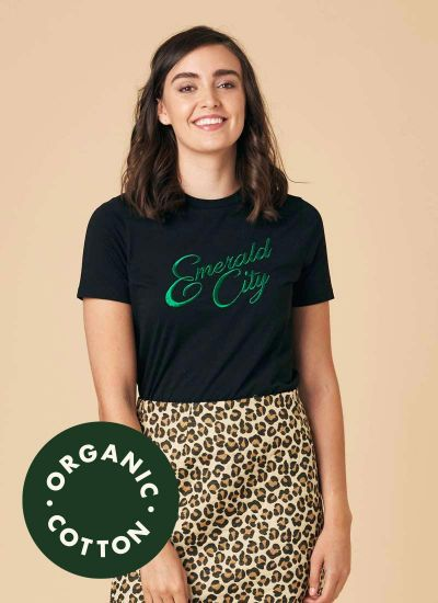 Maud Embroidered Emerald City Slogan Tee Model Close-Up