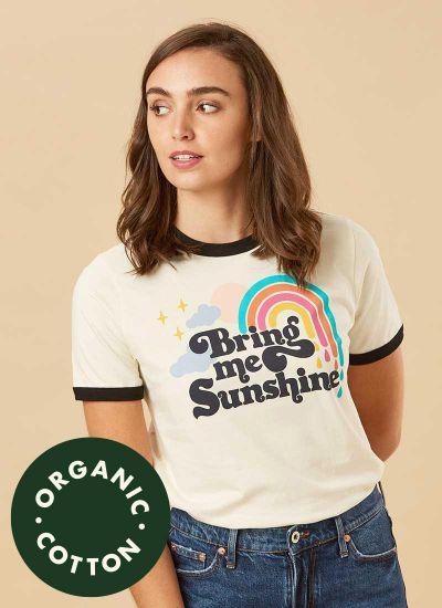 Cora Bring Me Sunshine Slogan Tee Model Close-Up