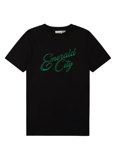 Maud Embroidered Emerald City Slogan Tee