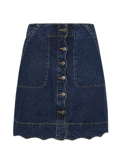Sarah Scallop A-Line Denim Skirt - Blue