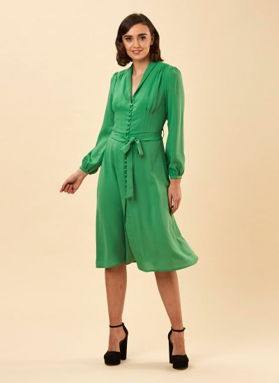 Babs Button-Through Green Midi Dress Model Front