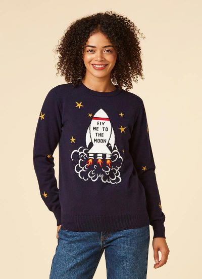 Sharman Fly Me To The Moon Jumper Model Close-Up Katie