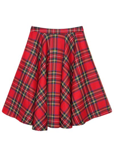 Shirley Red Tartan Full Circle Skirt Product Front
