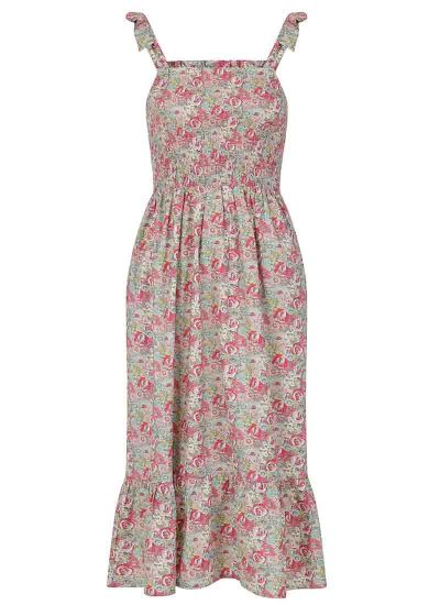 Starkey Pink Floral Smocked Cotton Sundress Product Front