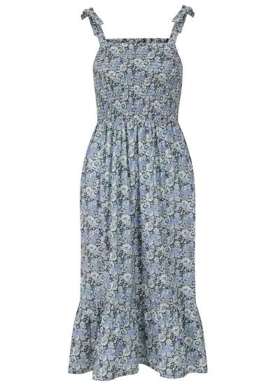 Starkey Blue Floral Smocked Cotton Sundress Product Front