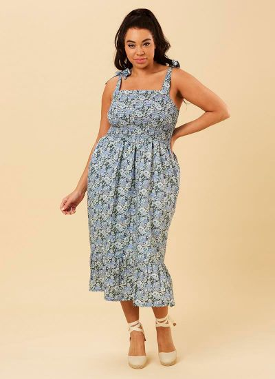 Starkey Smocked Cotton Sundress - Blue Floral