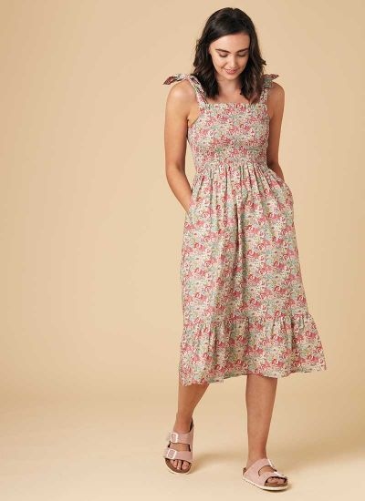 Starkey Smocked Cotton Sundress - Pink Floral