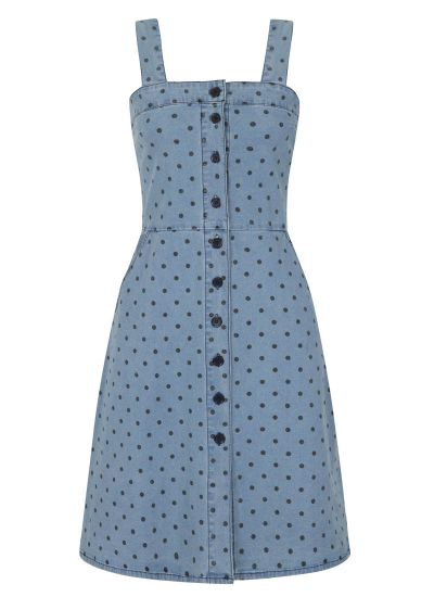 Tamara Polka Dot Strappy Pinafore Denim Dress Product Front