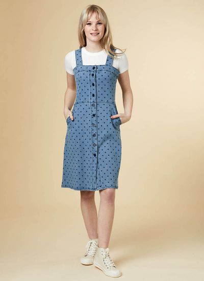 Tamara Button Denim Pinafore Dress - Polka Dot
