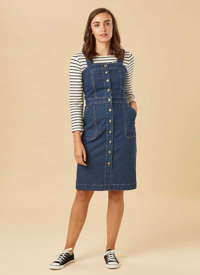 Tara Button Denim Pinafore Dress Model Front