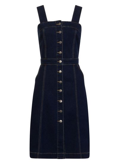 Tara Button Denim Pinafore Dress
