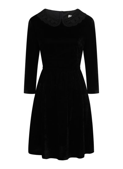 Thursday Black Velvet Crochet Collar Skater Dress Product Front