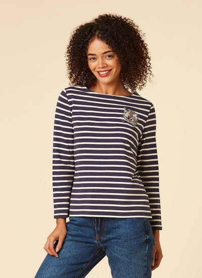 Timmy Navy Cat Breton Stripe Top Model Close-Up