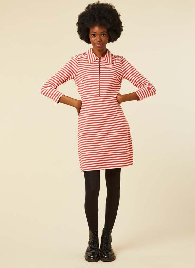 Vartan Red Stripe Polo Dress Model Front