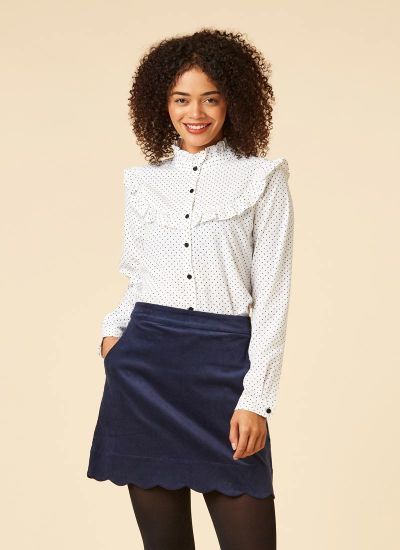 Violetta Polka Dot Frill Blouse Model Close-Up