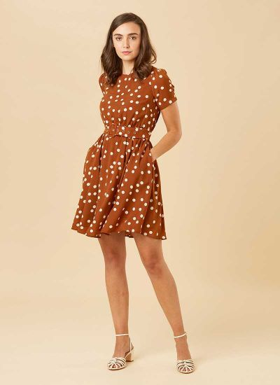 Vivian Polka Dot Belted Tea Dress Model Pockets