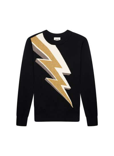 Ziggy Metallic Gold Lightning Bolt Intarsia Jumper