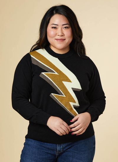 Ziggy Metallic Gold Lightning Bolt Intarsia Jumper Model Front