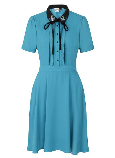 Zooey Blue Embroidered Swallows Collar Dress Product Front