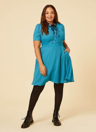 Zooey Embroidered Swallows Collar Dress - Blue