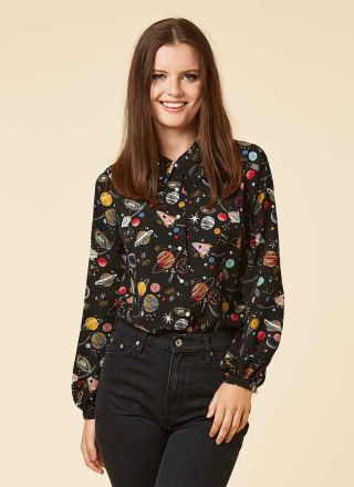 Ali Space Print Blouse Model Front
