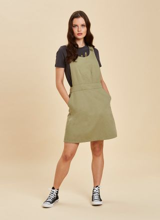 Apron Cotton Pinafore Dress Green Close Up