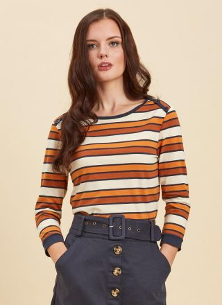 Atilla Button Shoulder Stripe Top Rust Close-Up