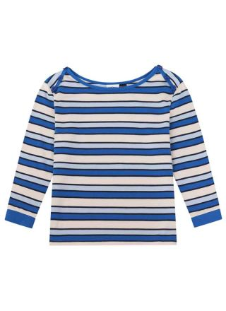 Atilla Button Shoulder Stripe Top Blue Product Front
