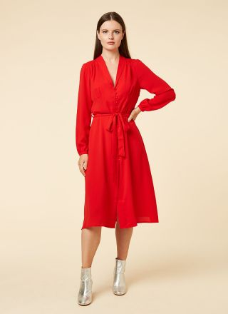 Babs Red Vintage Inspired Midi Dress