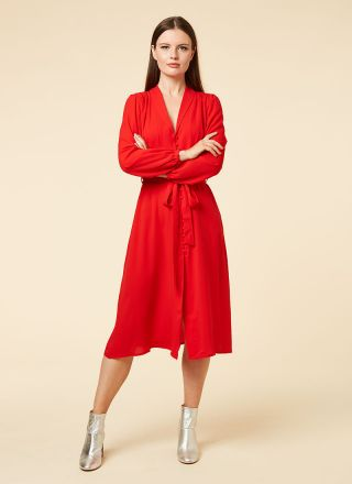 Babs Button-Through Red Midi Dress Model Silver Boots