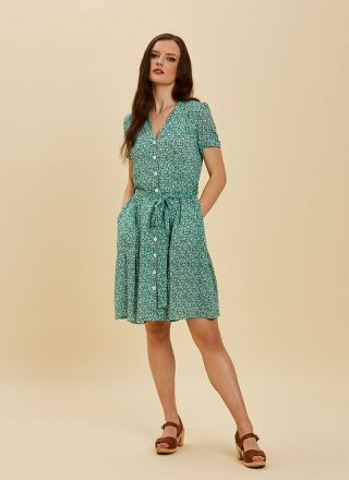 Barb Green Floral Tea Dress Full Front View