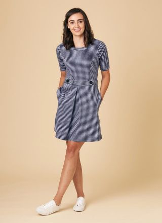 Basil Fitted Stretch Gingham Dress Blue Pockets Model Front