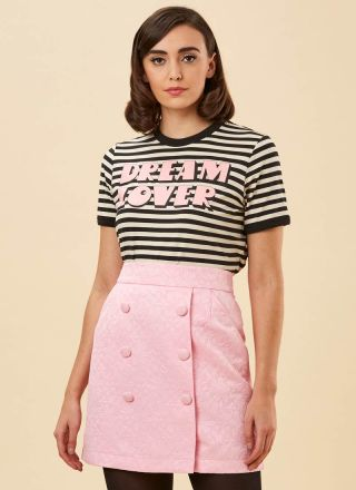 Colbert Jacquard Button A-Line Skirt Pink Close-Up