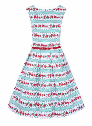 Betty Floral Stripe Print Dress Product Front