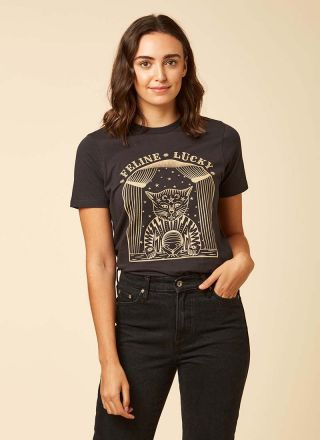 Binx Feline Lucky Cat Slogan Tee Model Front