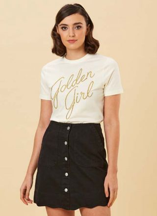 Sarah Scallop A-Line Denim Skirt Black Close-Up Stripe Top