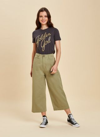 Dietrich Wide-Leg Crop Trousers - Green