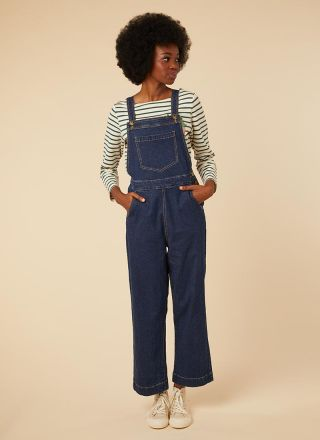 Bleecker Indigo Stretch Denim Dungarees Model Front