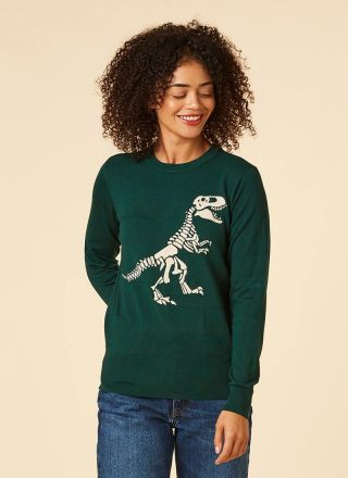 Bones T-Rex Dinosaur Intarsia Jumper Model Close-Up