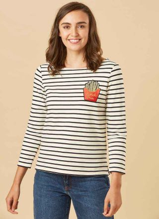 Bretter French Fries Breton Stripe Top Model Close-Up